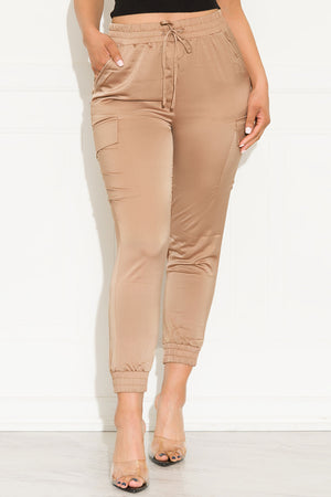 Holding You Back Satin Jogger Khaki