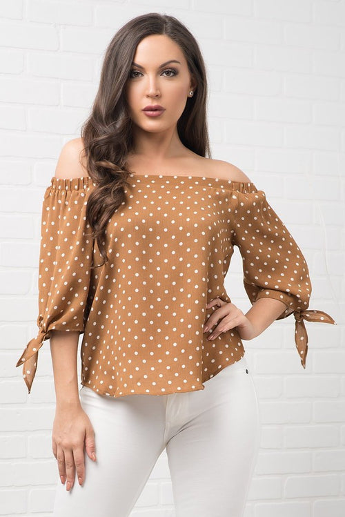Yara Polka Dot Top - Mustard Brown