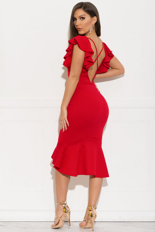 Braidy Midi Dress - Red