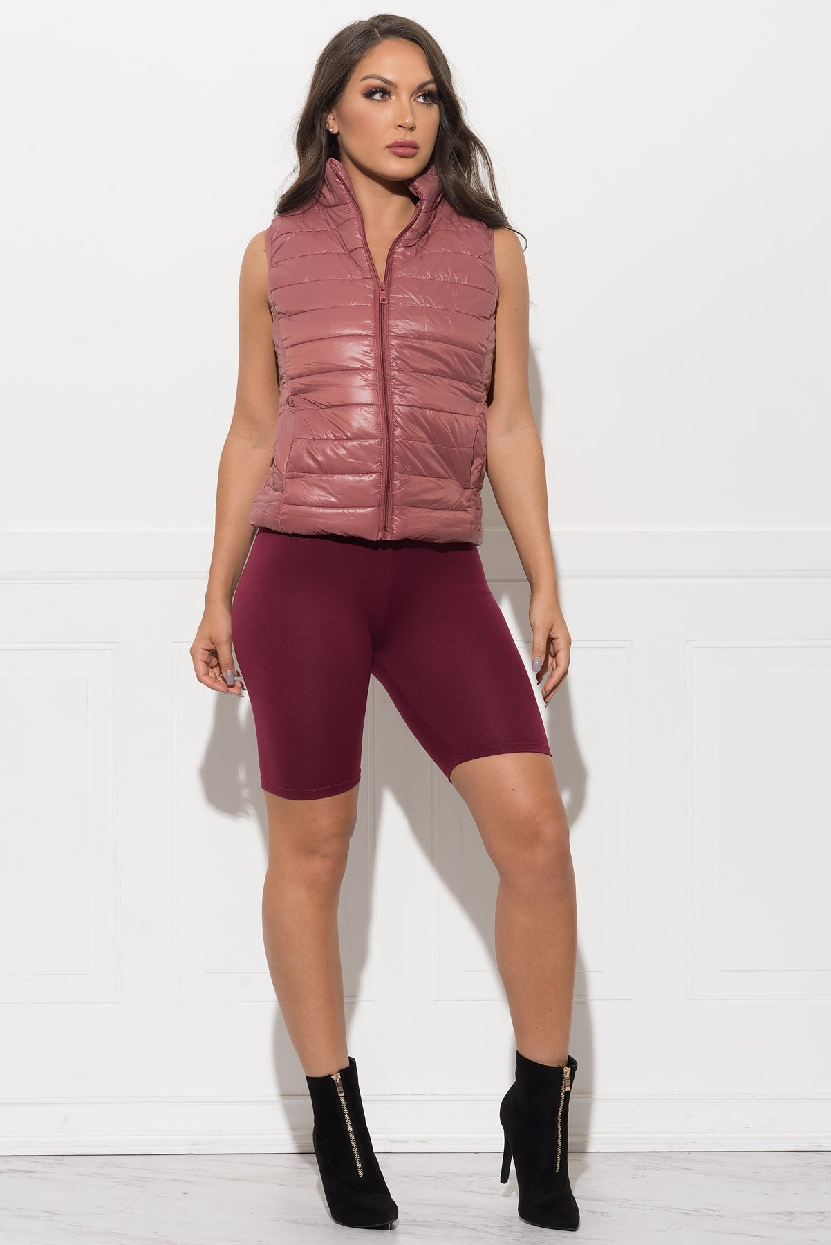 Dacey Puffer Vest - Dusty Rose