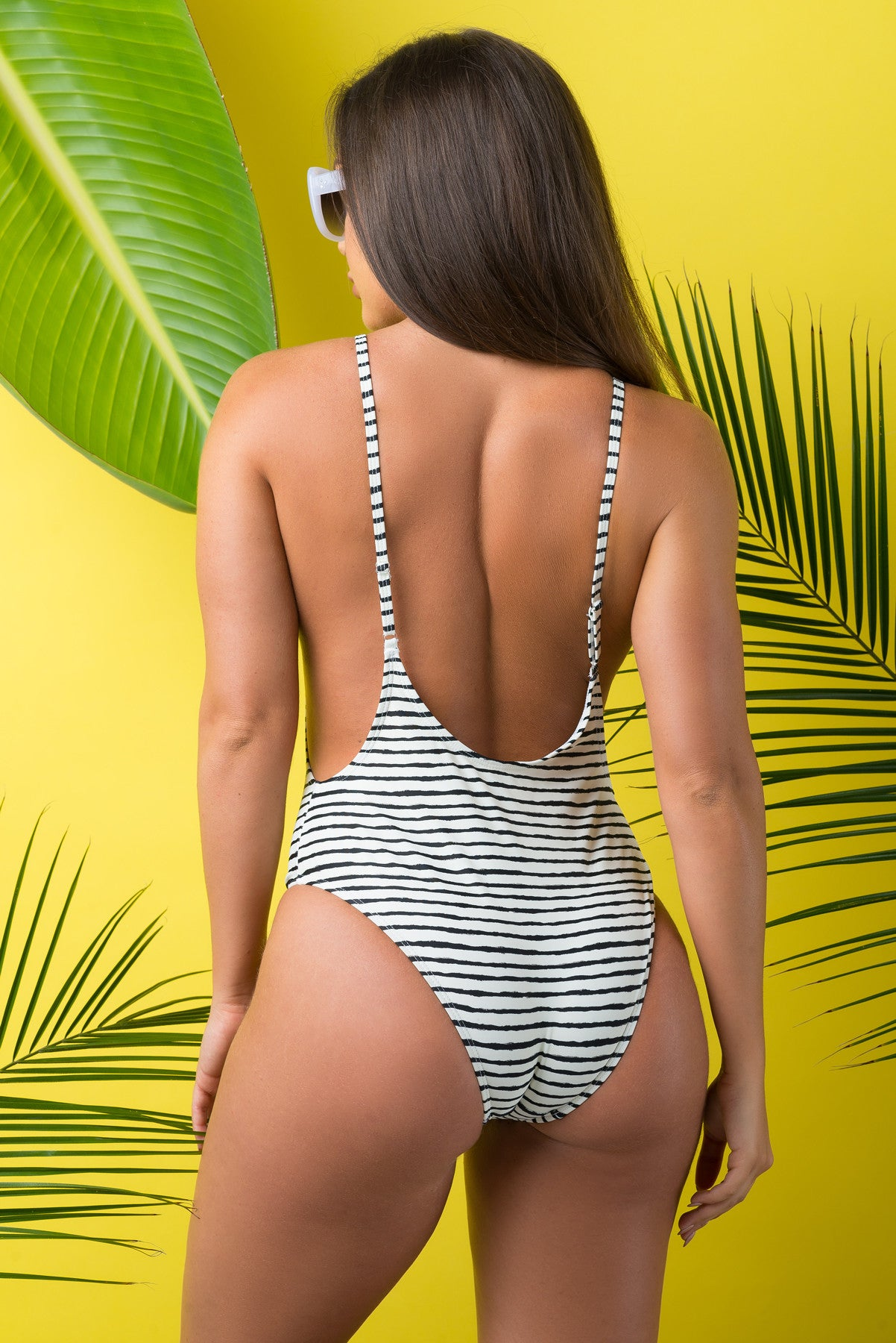 Candice Black And White Stripped One Piece