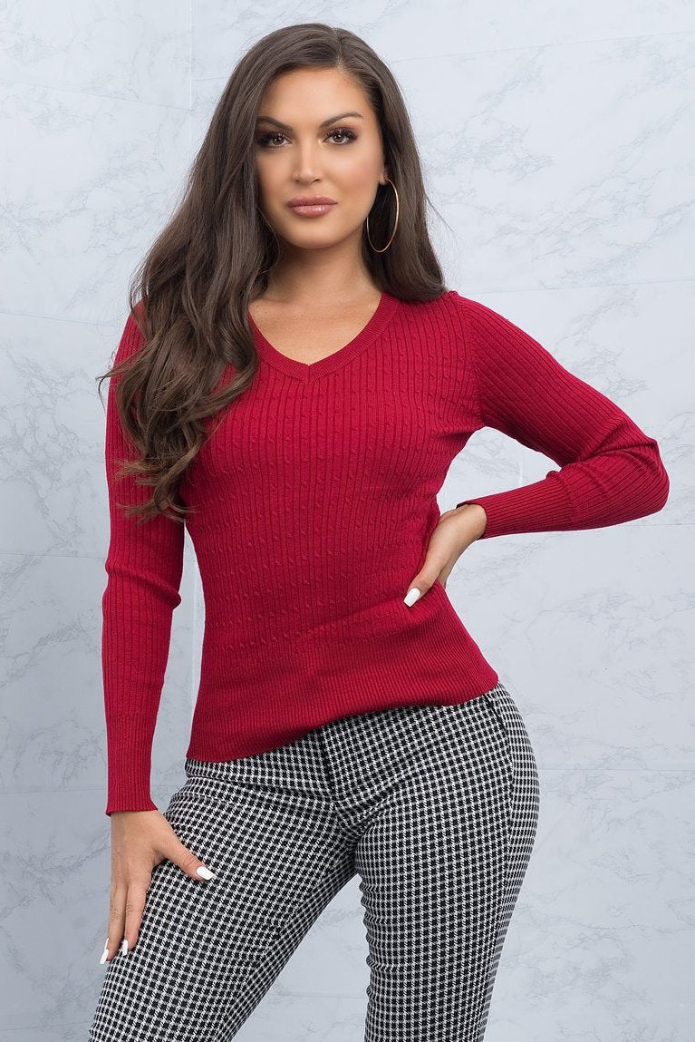 Toni Sweater Top - Dark Red