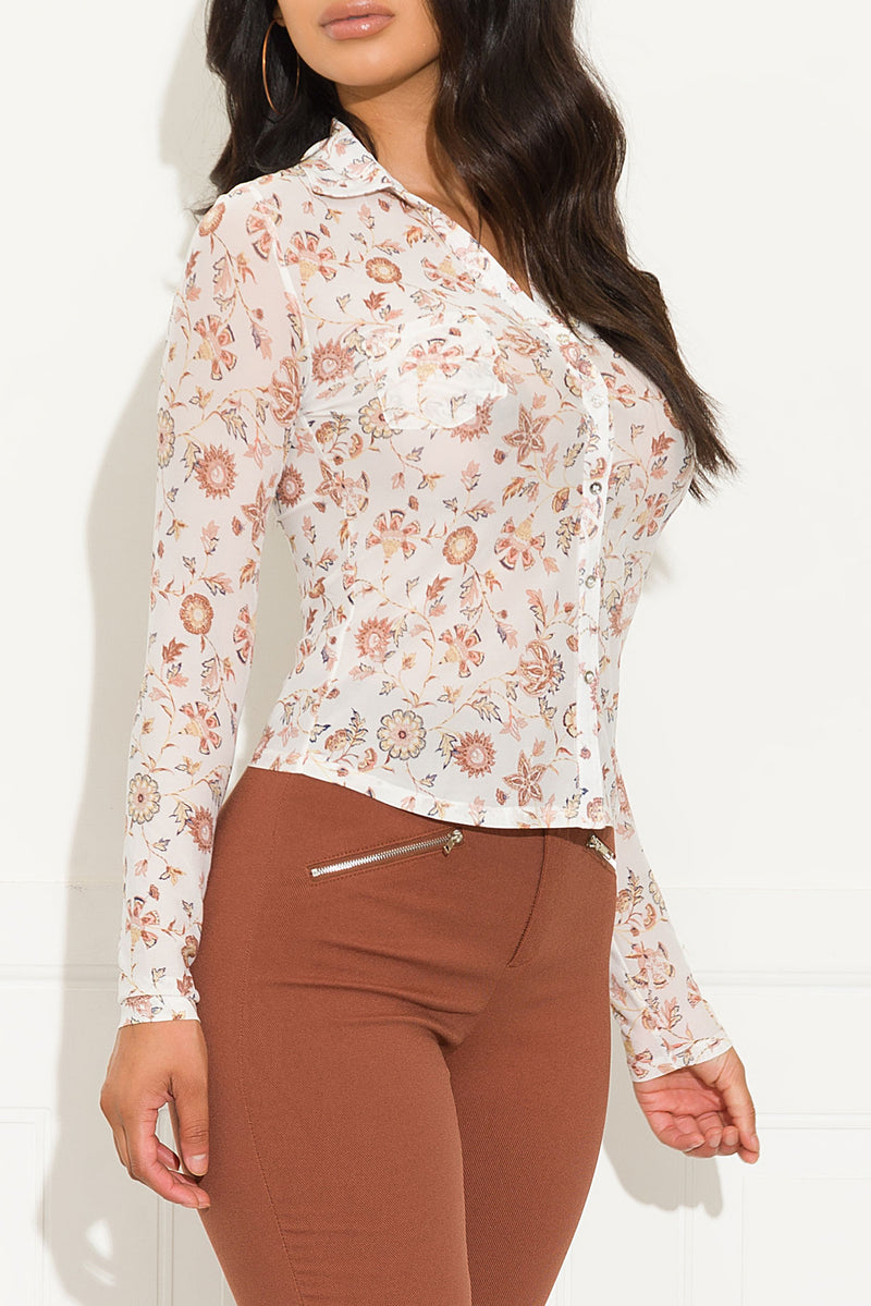 Bella Floral Top Off White