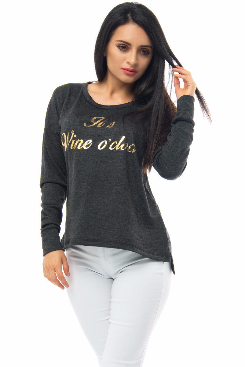 It's Wine O'clock Charcoal Grey Top - Fashion Effect Store  - 1