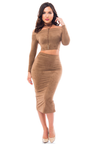 Reagan Suede Taupe Two Piece Set - Fashion Effect Store  - 1