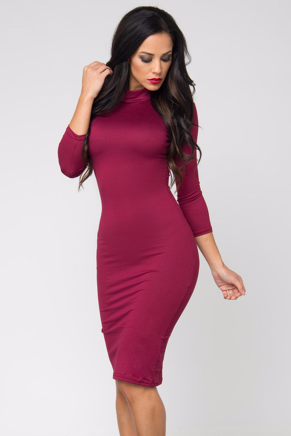 Marsha Burgundy Long Sleeve Dress - Fashion Effect Store  - 1