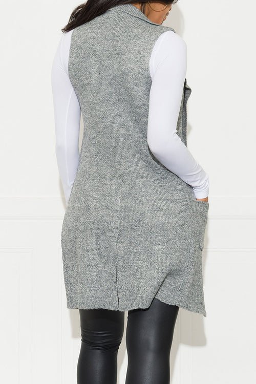 Handle It Cardigan Vest Heather Grey