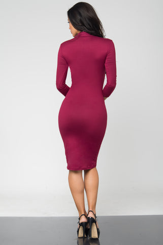 Marsha Burgundy Long Sleeve Dress - Fashion Effect Store  - 2