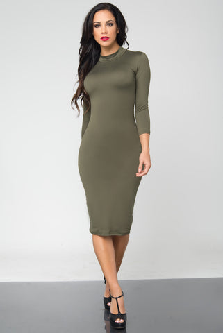Marsha Olive Long Sleeve Dress - Fashion Effect Store  - 1