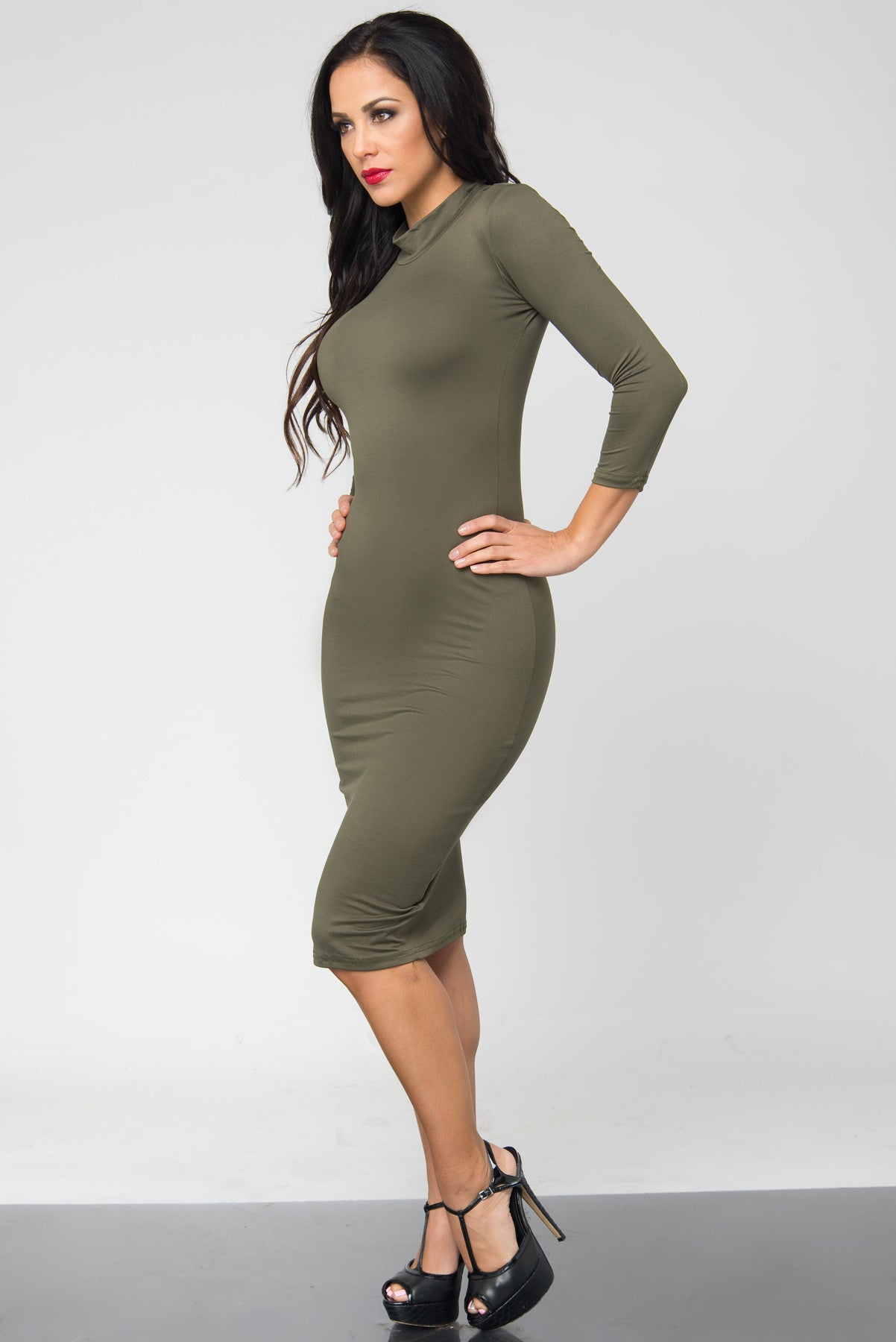 Marsha Olive Long Sleeve Dress - Fashion Effect Store  - 2