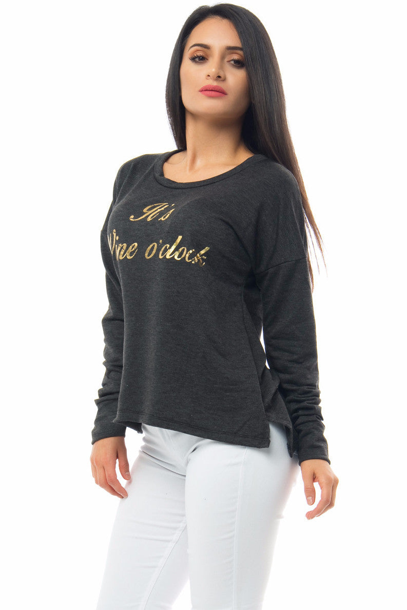 It's Wine O'clock Charcoal Grey Top - Fashion Effect Store  - 3