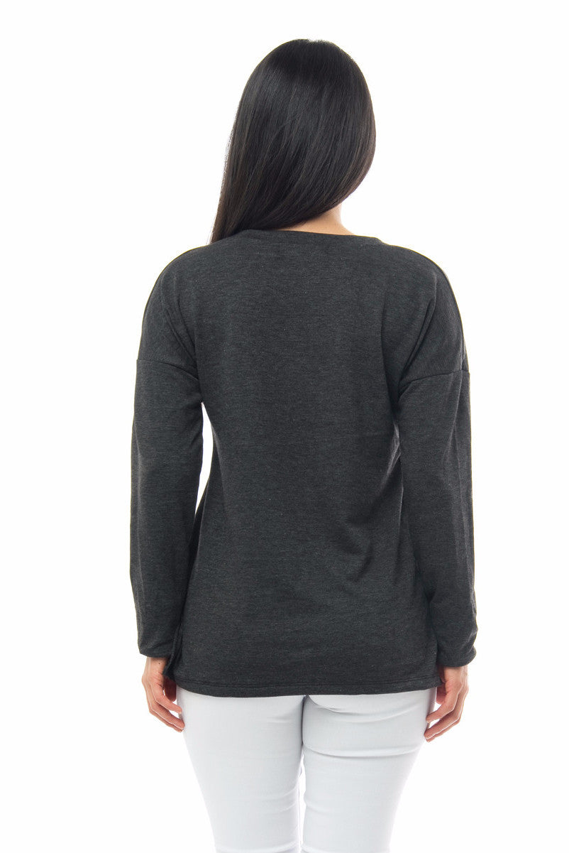 It's Wine O'clock Charcoal Grey Top - Fashion Effect Store  - 2