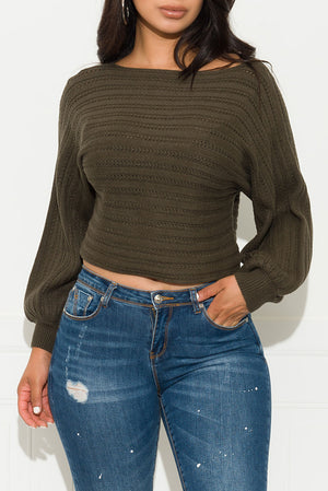 Make It Up To Me Sweater Top Olive