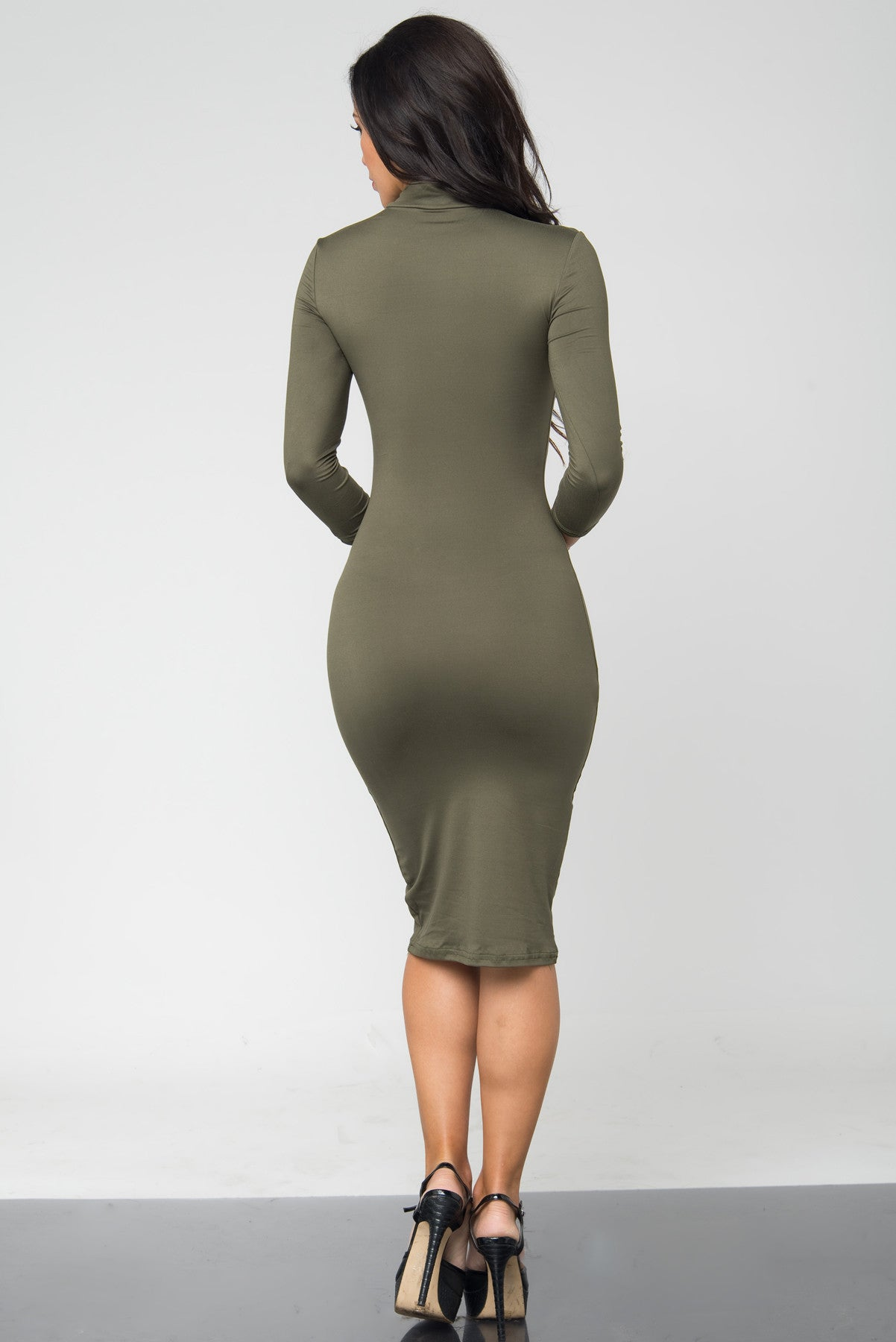 Marsha Olive Long Sleeve Dress - Fashion Effect Store  - 3