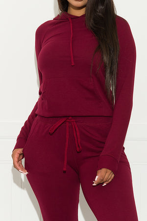 Set You On Track Sweater  Burgundy