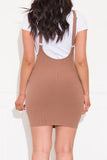Make Your Move Dress With Suspenders Khaki