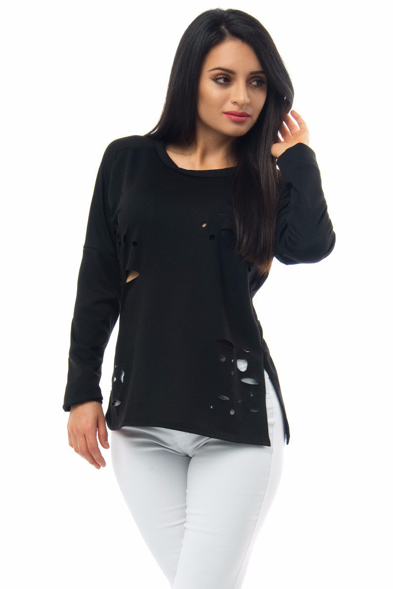 Denisse Distressed Black Top - Fashion Effect Store  - 3