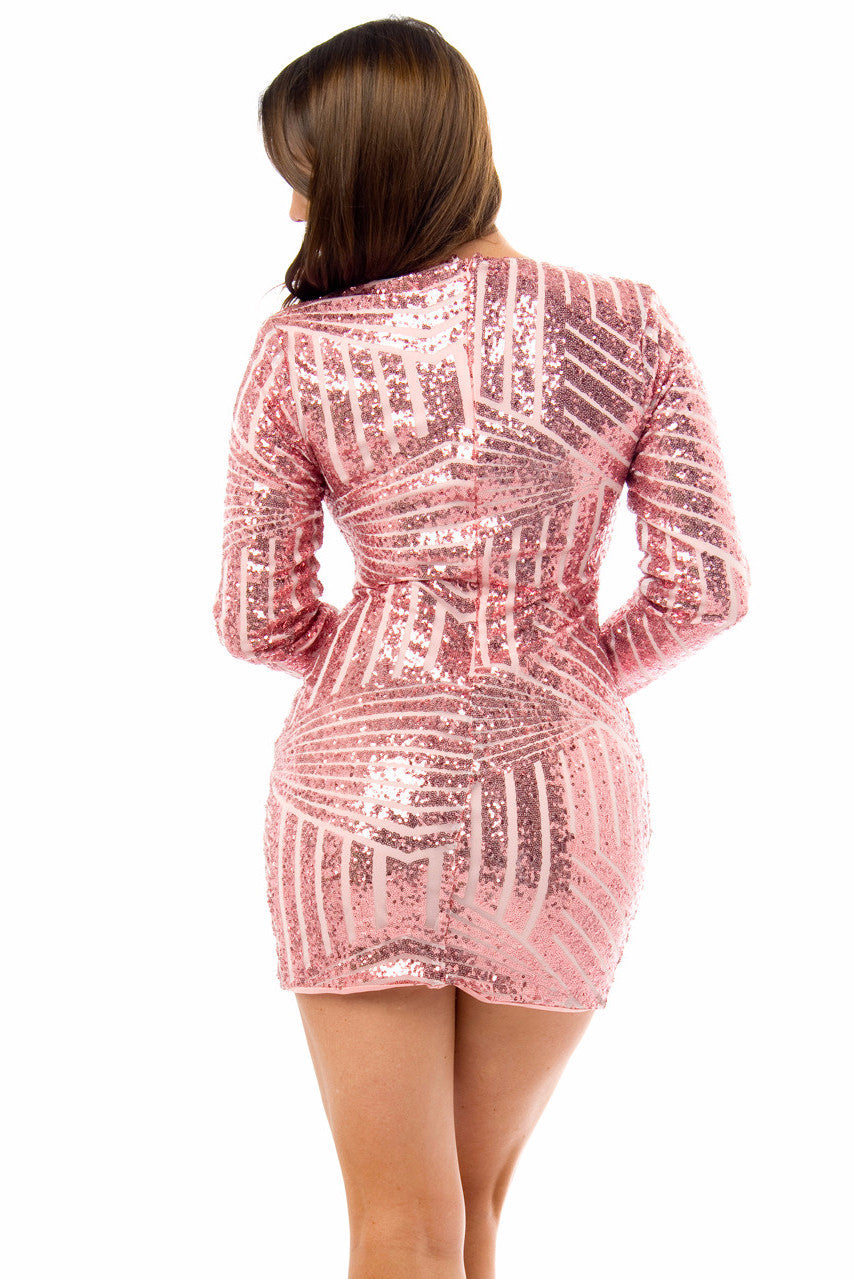 Mia Rose Pink Sequin Dress - Fashion Effect Store  - 2