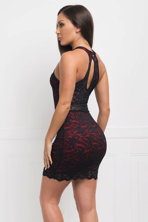 Olivia Lace Mini Dress - Black & Red