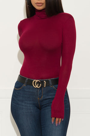 Spice It Up Long Sleeve Top Burgundy