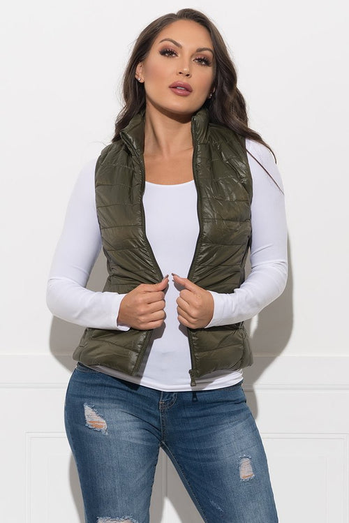 Dacey Puffer Vest - Olive