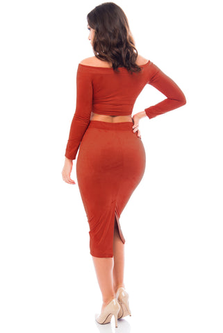 Reagan Suede Rust Two Piece Set - Fashion Effect Store  - 2