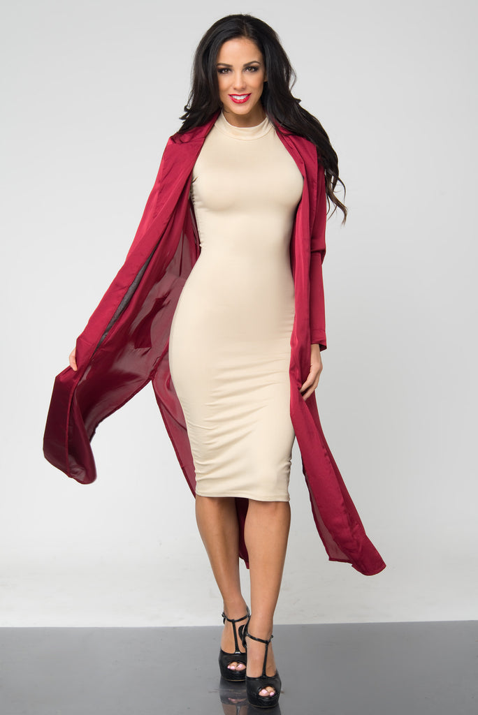 Tally Burgundy Satin Duster - Fashion Effect Store  - 1
