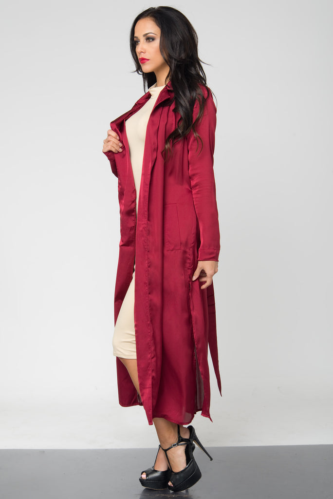 Tally Burgundy Satin Duster - Fashion Effect Store  - 3