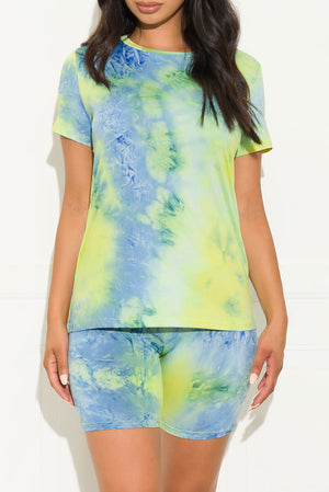 Chill Out Set Round Neck Tie Dye Blue/Green