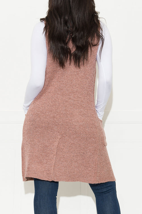 Handle It Cardigan Vest Heather Rose