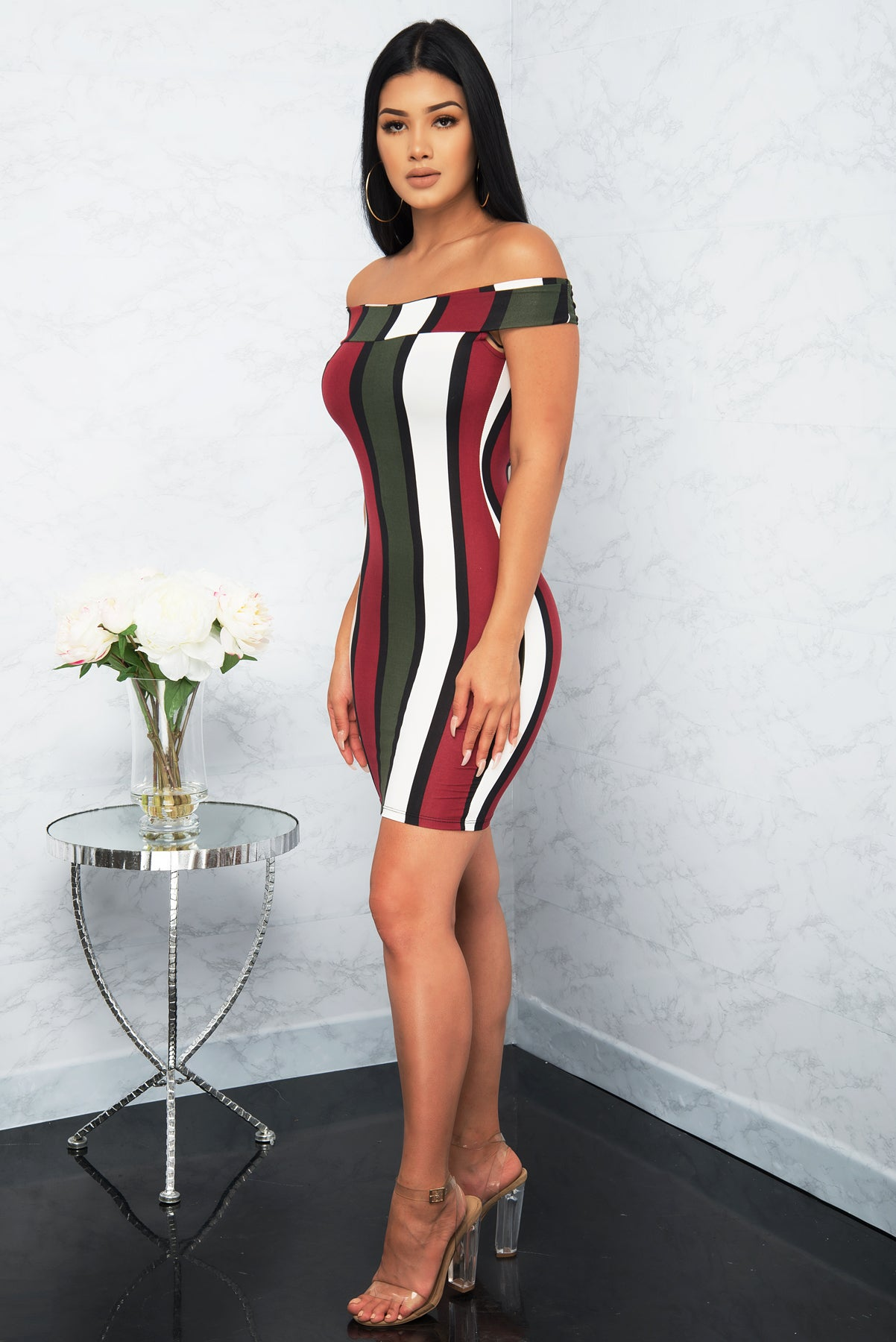DAKOTA STRIPED DRESS - Burgundy