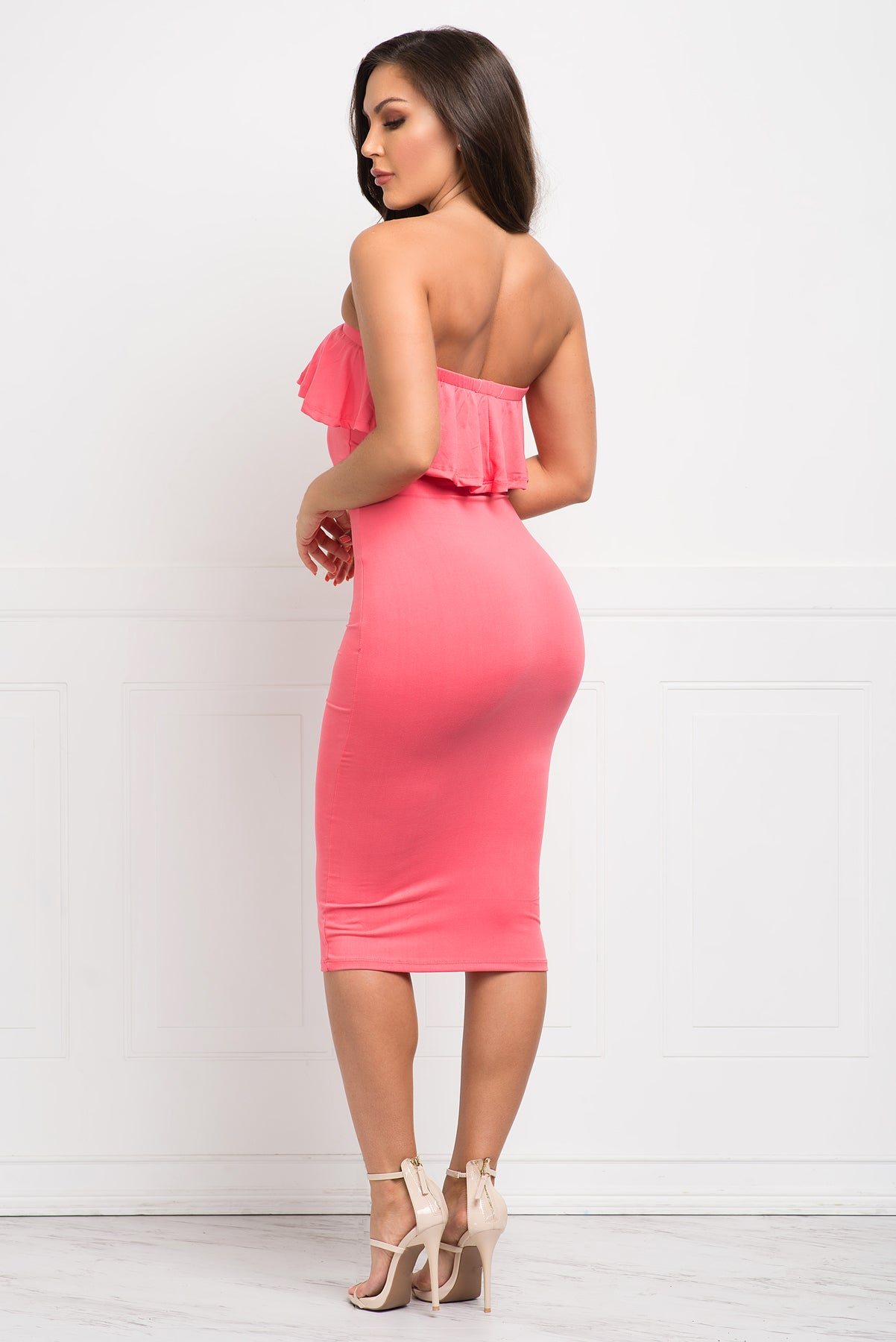Chantell Off Shoulder Dress - Coral