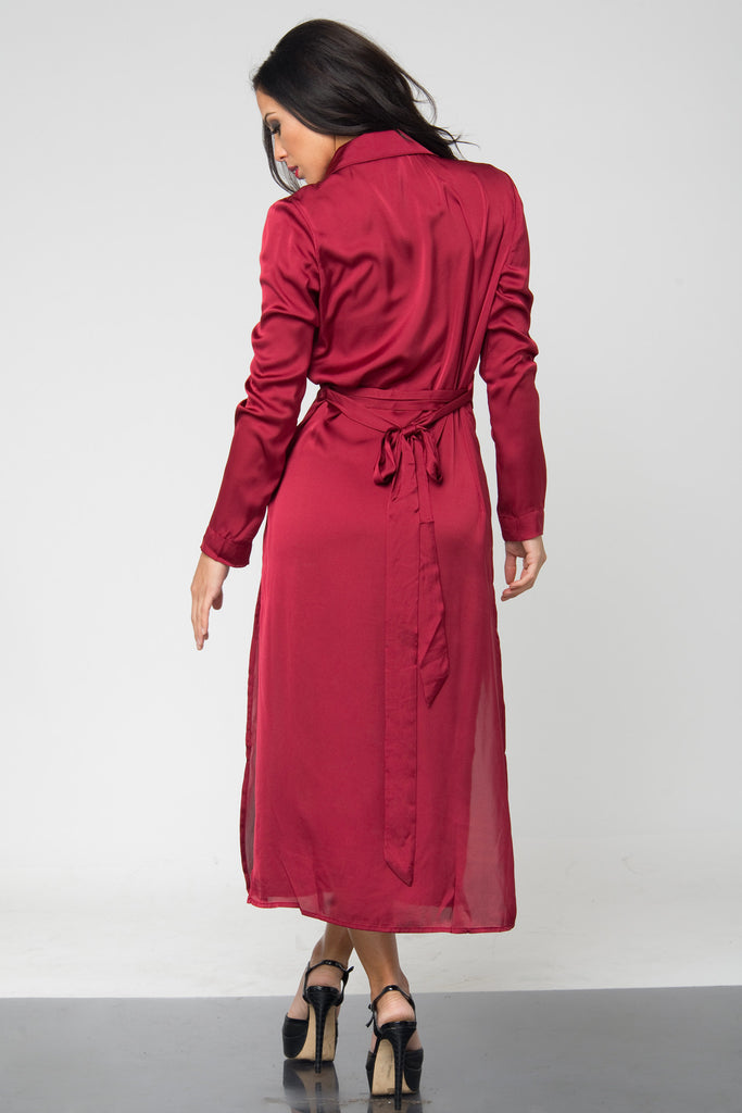 Tally Burgundy Satin Duster - Fashion Effect Store  - 2