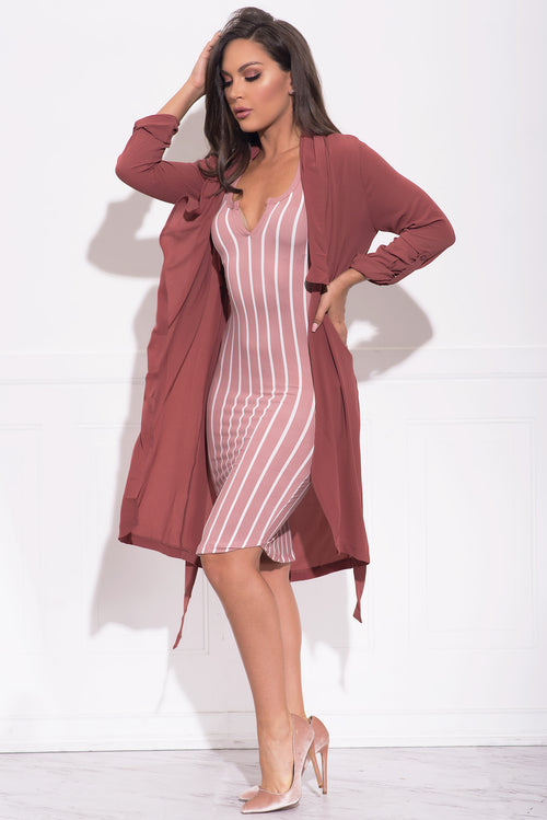 Kimberly Striped Dress -  Dusty Rose