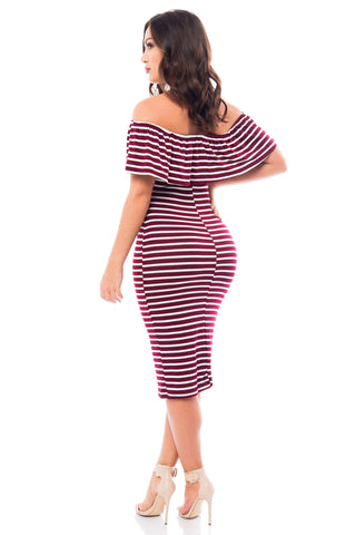 Katie Striped Burgundy Dress - Fashion Effect Store  - 2