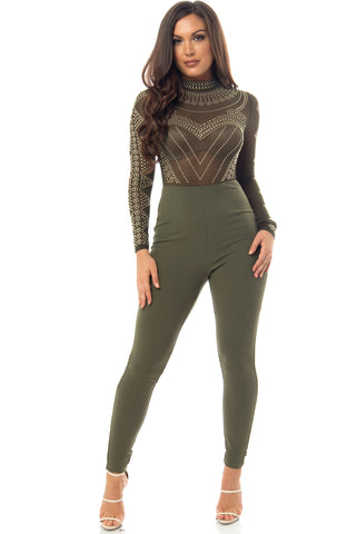 Isabella Jumpsuit Olive - Fashion Effect Store  - 1