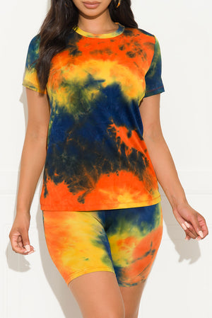 Chill Out Set Round Neck Tie Dye Orange/Yellow