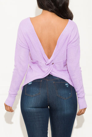 Just Take A Guess Faux Wrap Sweater Lavender