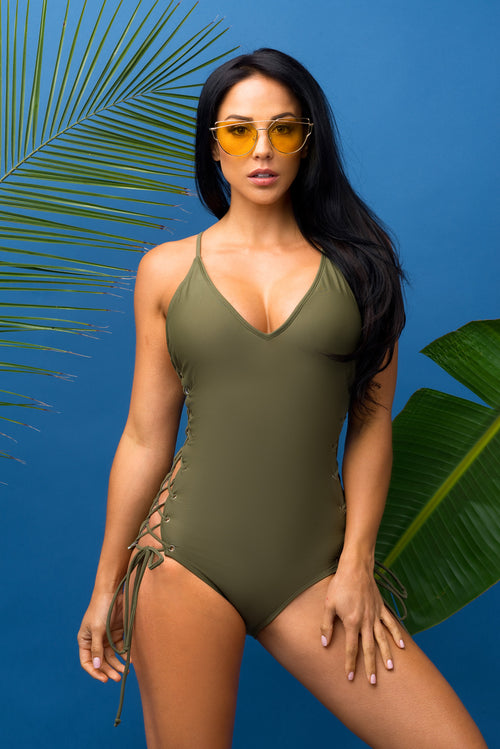 Sunshine Beach  Olive One Piece Swimsuit