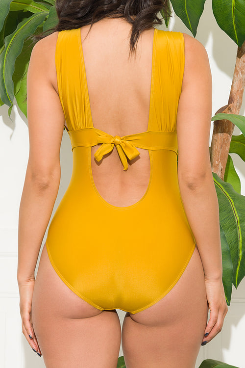 Kalalau Beach  One Piece Swimsuit Mustard