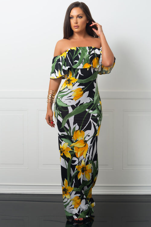 Mayte Maxi Dress Floral Yellow