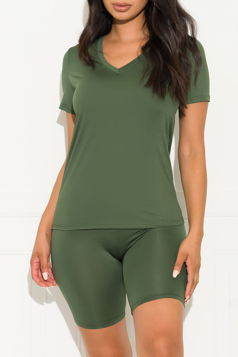 Chill Out Set V Neck Army Green