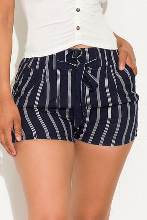 Brianna Striped Short Navy And White