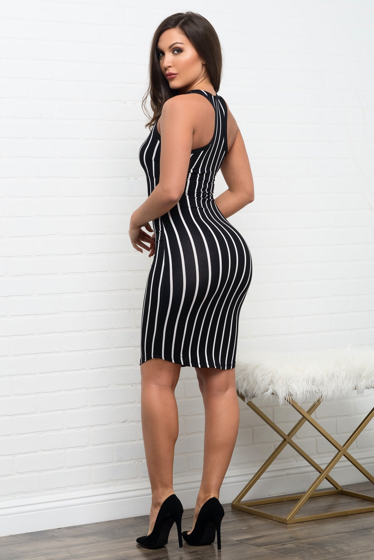 Kimberly Striped Dress - Black