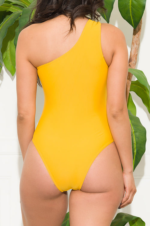 Mediterranean Beach One Piece Swimsuit Mustard