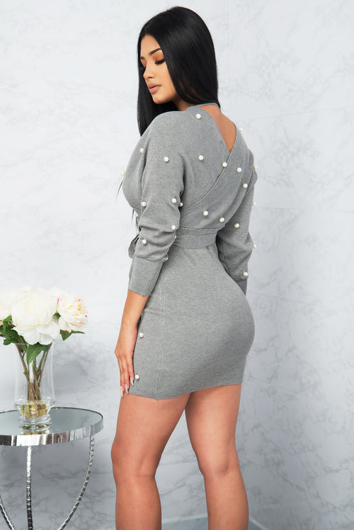 Vivica Faux Wrap Tie Up Dress - Grey