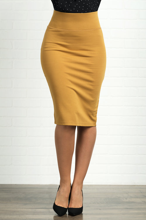 Andy Pencil Skirt -Mustard