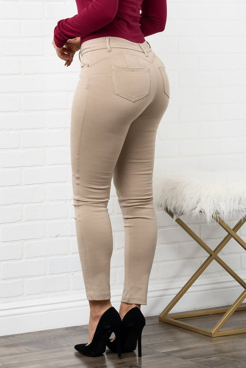 Lexi Butt Lifter Pants - Khaki