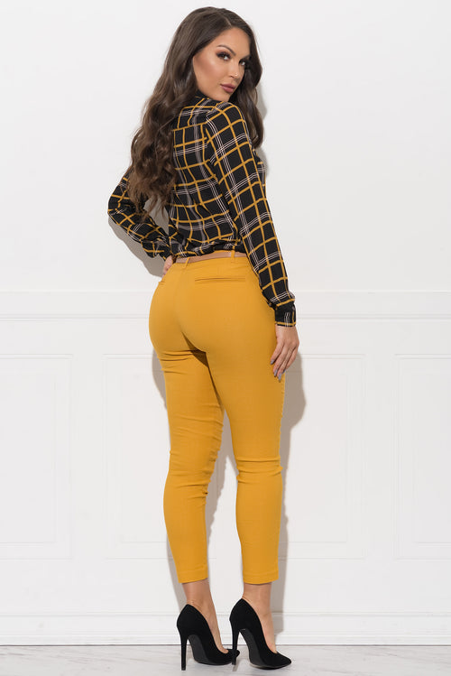 Teagan Blouse - Black/mustard