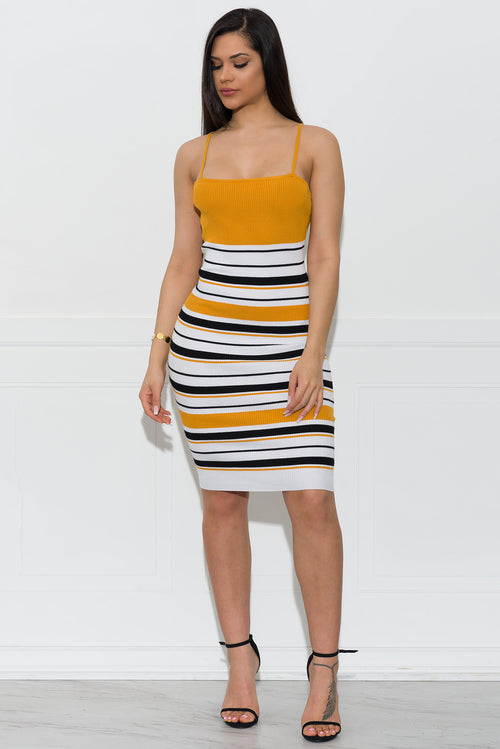 Michelle Stripped Dress- Mustard
